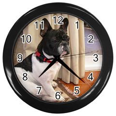 Sitting 3 French Bulldog Wall Clock (Black)