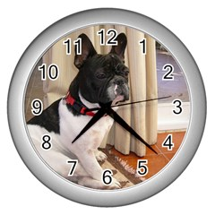 Sitting 3 French Bulldog Wall Clock (Silver)