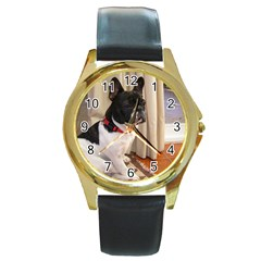 Sitting 3 French Bulldog Round Leather Watch (Gold Rim)