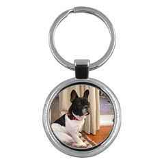 Sitting 3 French Bulldog Key Chain (Round)
