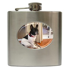 Sitting 3 French Bulldog Hip Flask