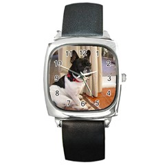 Sitting 3 French Bulldog Square Leather Watch