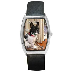 Sitting 3 French Bulldog Tonneau Leather Watch