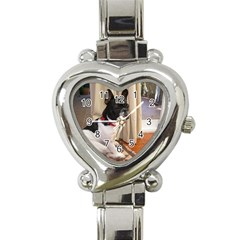 Sitting 3 French Bulldog Heart Italian Charm Watch
