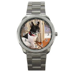 Sitting 3 French Bulldog Sport Metal Watch