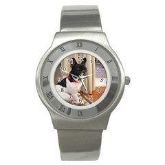 Sitting 3 French Bulldog Stainless Steel Watch (Slim)