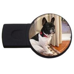 Sitting 3 French Bulldog 4GB USB Flash Drive (Round)