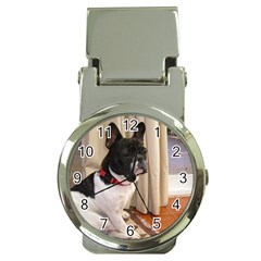 Sitting 3 French Bulldog Money Clip with Watch