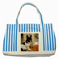 Sitting 3 French Bulldog Blue Striped Tote Bag