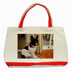 Sitting 3 French Bulldog Classic Tote Bag (Red)