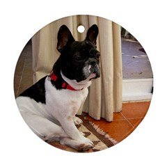 Sitting 3 French Bulldog Round Ornament (Two Sides)