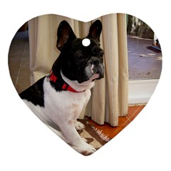 Sitting 3 French Bulldog Heart Ornament (Two Sides)