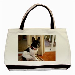 Sitting 3 French Bulldog Twin-sided Black Tote Bag