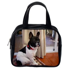 Sitting 3 French Bulldog Classic Handbag (One Side)