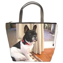 Sitting 3 French Bulldog Bucket Handbag