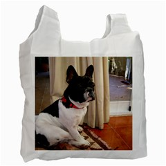 Sitting 3 French Bulldog White Reusable Bag (Two Sides)