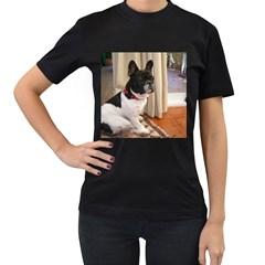 Sitting 3 French Bulldog Women s T-shirt (Black)