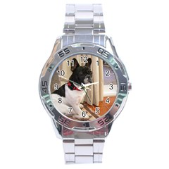 Sitting 3 French Bulldog Stainless Steel Watch