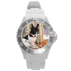Sitting 3 French Bulldog Plastic Sport Watch (Large)