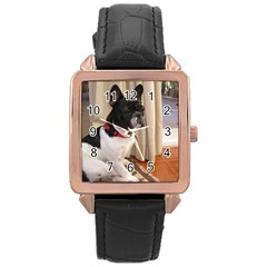 Sitting 3 French Bulldog Rose Gold Leather Watch