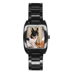 Sitting 3 French Bulldog Stainless Steel Barrel Watch