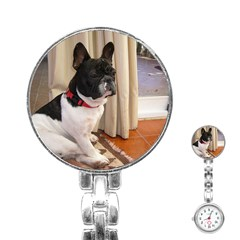 Sitting 3 French Bulldog Stainless Steel Nurses Watch