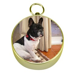 Sitting 3 French Bulldog Gold Compass