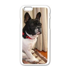 Sitting 3 French Bulldog Apple iPhone 6 White Enamel Case