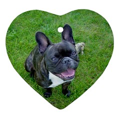Sitting 2 French Bulldog Heart Ornament