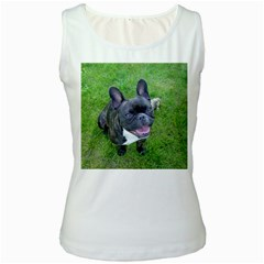 Sitting 2 French Bulldog Women s Tank Top (White)