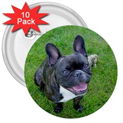 Sitting 2 French Bulldog 3  Button (10 pack)
