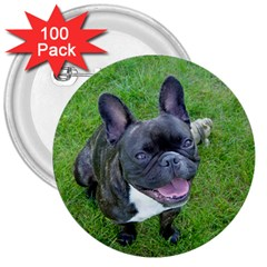 Sitting 2 French Bulldog 3  Button (100 pack)