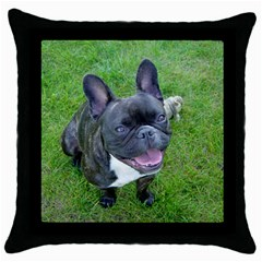 Sitting 2 French Bulldog Black Throw Pillow Case
