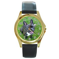Sitting 2 French Bulldog Round Leather Watch (Gold Rim)