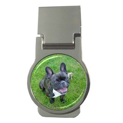 Sitting 2 French Bulldog Money Clip (Round)