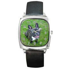Sitting 2 French Bulldog Square Leather Watch