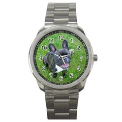 Sitting 2 French Bulldog Sport Metal Watch