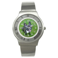 Sitting 2 French Bulldog Stainless Steel Watch (Slim)