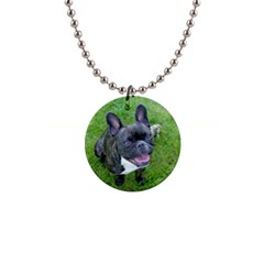 Sitting 2 French Bulldog Button Necklace
