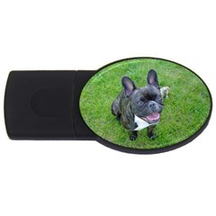 Sitting 2 French Bulldog 4GB USB Flash Drive (Oval)