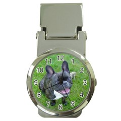 Sitting 2 French Bulldog Money Clip with Watch