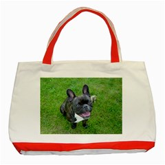 Sitting 2 French Bulldog Classic Tote Bag (Red)