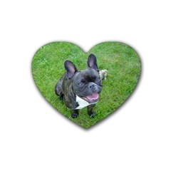 Sitting 2 French Bulldog Drink Coasters 4 Pack (Heart)