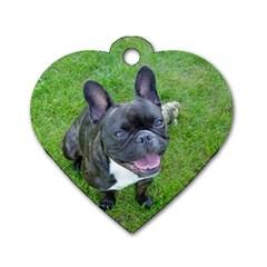 Sitting 2 French Bulldog Dog Tag Heart (One Sided)