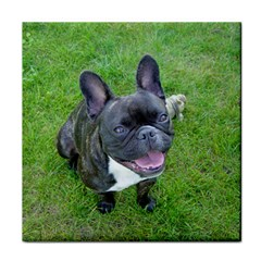 Sitting 2 French Bulldog Face Towel