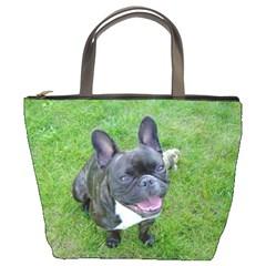 Sitting 2 French Bulldog Bucket Handbag