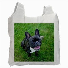 Sitting 2 French Bulldog White Reusable Bag (Two Sides)