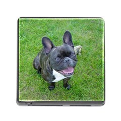 Sitting 2 French Bulldog Memory Card Reader with Storage (Square)
