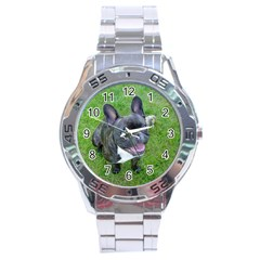 Sitting 2 French Bulldog Stainless Steel Watch