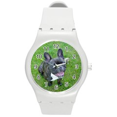 Sitting 2 French Bulldog Plastic Sport Watch (Medium)